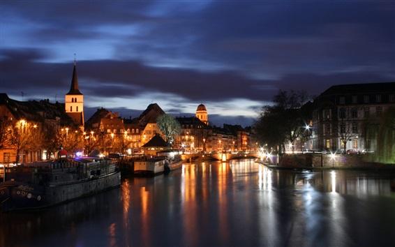 Обои Страсбург, Франция, ночь, река, дома, фонари