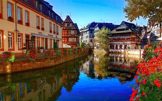 Papéis de Parede Estrasburgo, França, rio, flores, restaurante, casas