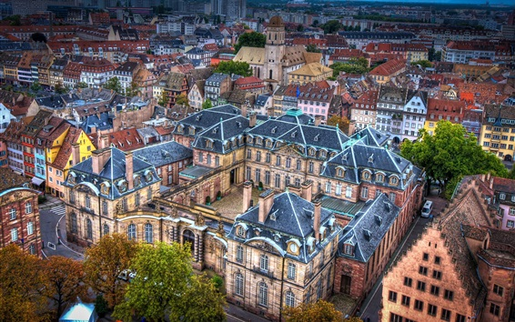 Wallpaper Strasbourg, travel to France, city top view, houses, street