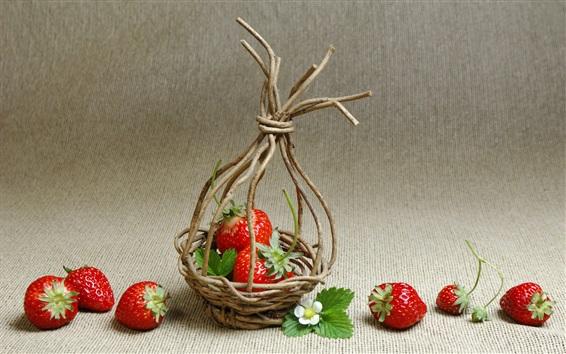 Wallpaper Strawberries, basket, twigs