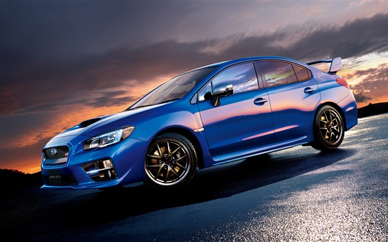 Wallpaper Subaru STI WRX blue car side view
