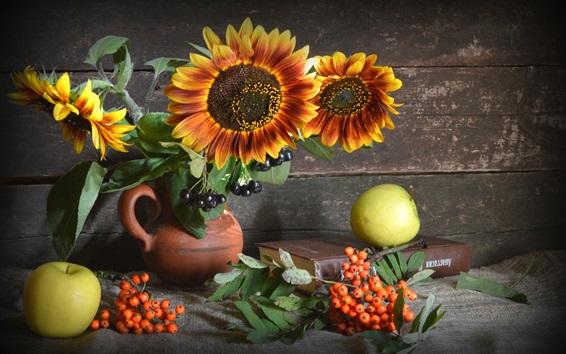 Wallpaper Sunflowers, berries, green apples