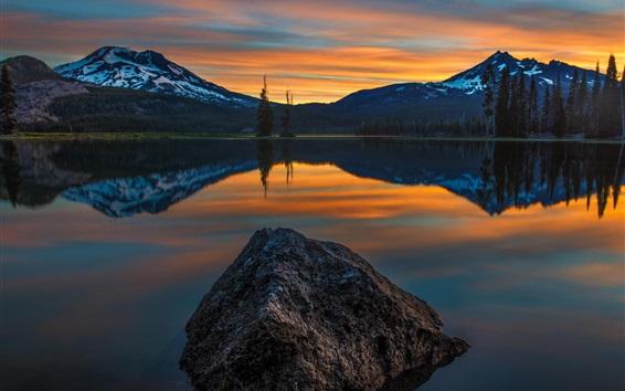 Wallpaper Sunset, lake, water reflection, mountains, trees