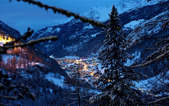 Wallpaper Switzerland, Alps, mountains, winter, snow, night, trees, houses, evening