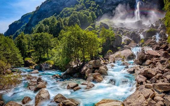Fondos de pantalla Suiza paisaje de la naturaleza, cascada, rocas, árboles, bosque
