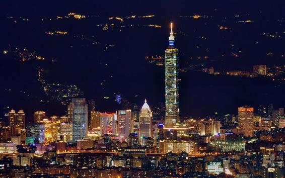 Papéis de Parede Taipei, cidade da noite, arranha-céus, iluminação