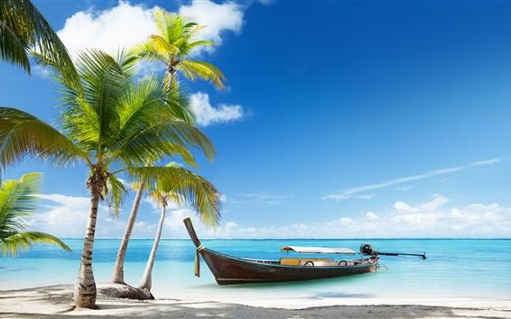 Обои Таиланд, пляж, пальмы деревья, море, лодка