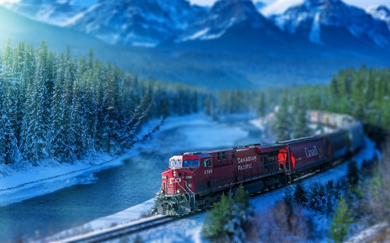 Wallpaper Train, railroad, track, river, trees, Canada