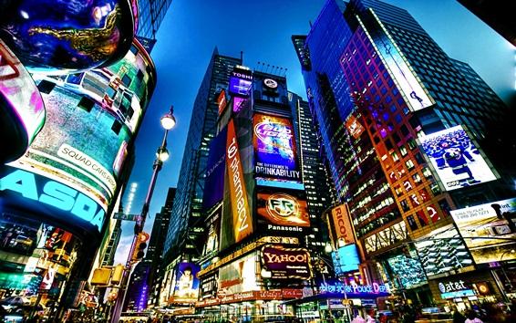 Fondos de pantalla Viajar a Nueva York, Times Square, ciudad, noche, rascacielos, luces