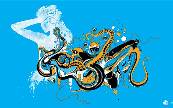 Wallpaper Vector design, girl, octopus, blue background
