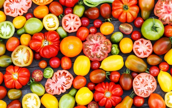 Wallpaper Vegetable close-up, several varieties of tomato