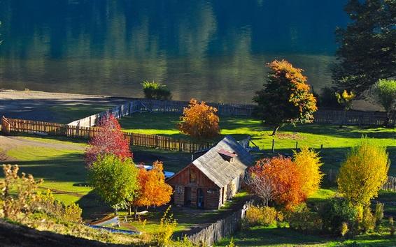 壁紙 村、家、木、川、日光、秋