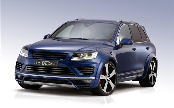 Обои Volkswagen Touareg SUV синий автомобиль