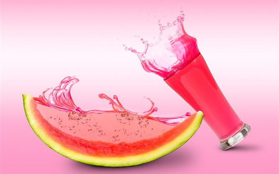 Wallpaper Watermelon juice, glass cup, pink style
