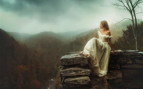 Wallpaper White dress girl sit at stone, height, mountains, dawn, fog