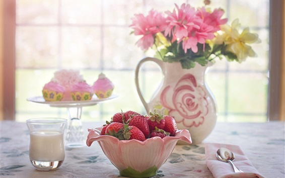 Wallpaper A Bowl of strawberry, flowers, window