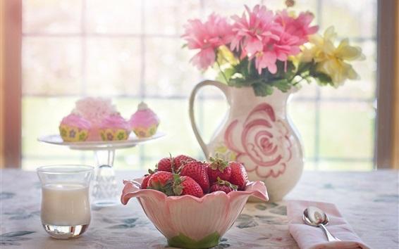 Wallpaper A Bowl of strawberry, flowers, window