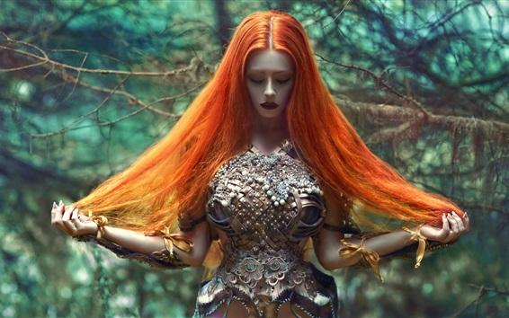 Wallpaper Agnieszka Lorek, fairy tale girl with red hair
