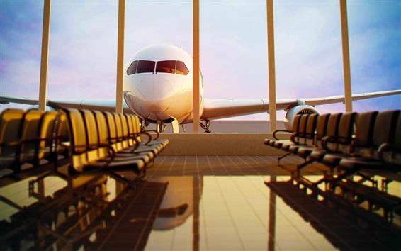 Fondos de pantalla Avión, aeropuerto, sala de espera, bancos, estados unidos