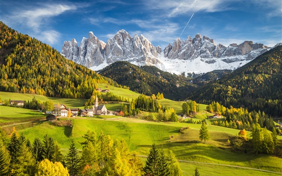 Wallpaper Alps, Italy, village, mountains, trees, valley, clouds, autumn