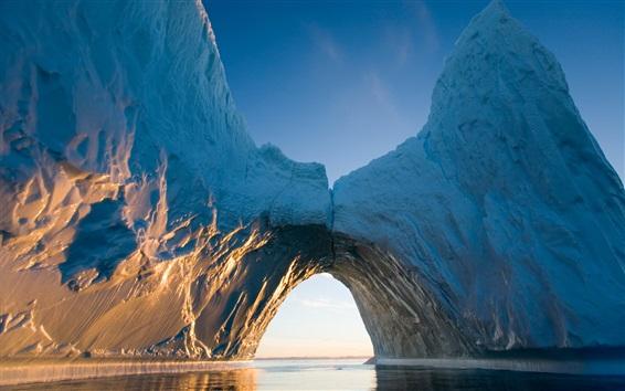 Papéis de Parede Ártico, iceberg, gelo, mar, arco