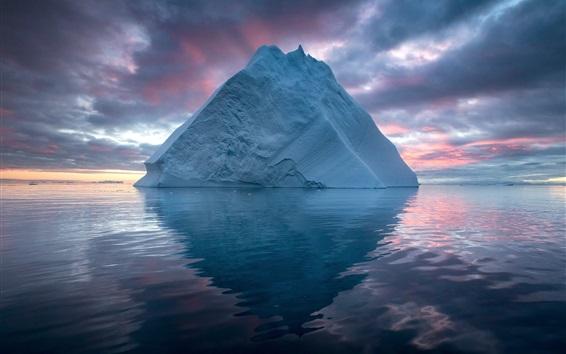 Обои Арктика, айсберг, море, облака, закат