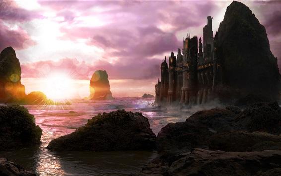 Wallpaper Art design, coast, sea, castle, stones, clouds, sunset