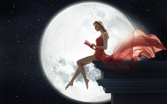 Wallpaper Art photography, red dress blonde girl reading book under the moon