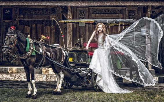 Wallpaper Asian girl, bride, wagon, horse