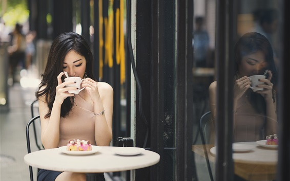 Wallpaper Asian girl drink coffee, cafe, table