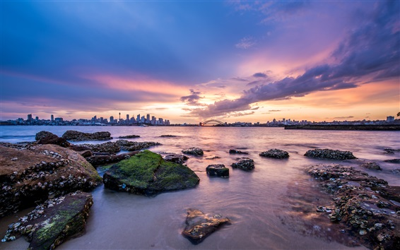 Wallpaper Australia capital, Sydney, city, dawn, coast, sunrise, clouds