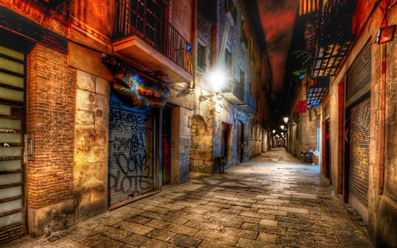Wallpaper Barcelona, Spain, alley, night, lights