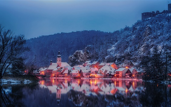Wallpaper Bayern, Germany, Naab River, houses, trees, mountains, night