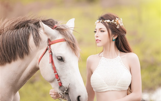 Wallpaper Beautiful Asian girl and white horse