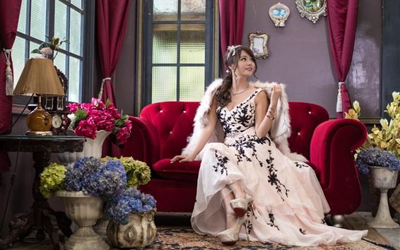 Wallpaper Beautiful Asian girl, smile, room, sofa