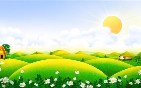 Papéis de Parede Belas paisagens de arte, colinas verdes, casa, wildflowers, nuvens, primavera