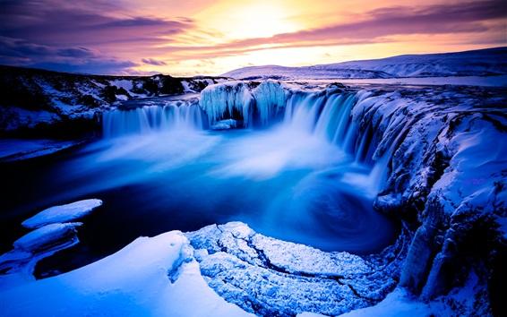 Wallpaper Beautiful landscape, winter, snow, mountains, waterfall, ice, dusk