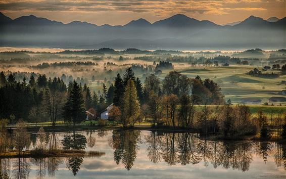 Wallpaper Beautiful morning, trees, river, mountains, fog, Germany, Bavaria, Bayern