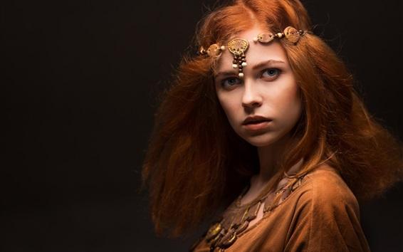 Papéis de Parede Menina bonita do cabelo vermelho, estilo da Idade Média