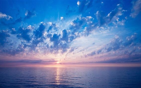 Wallpaper Beautiful sunrise, sea, clouds