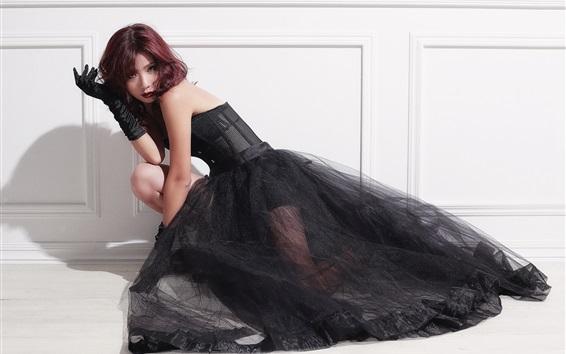 Fond d'écran Robe noire Asiatique fille, la mode, les cheveux courts