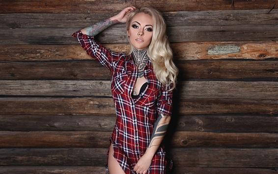 Wallpaper Blonde tattoo girl, shirt, wall