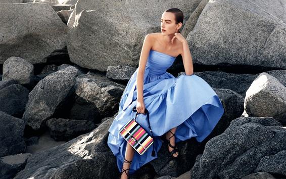 Wallpaper Blue dress girl, stones