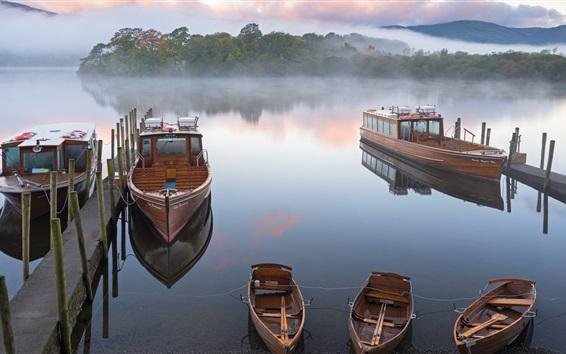 Wallpaper Boats, pier, river, trees, fog, morning