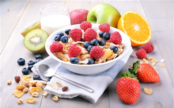 Wallpaper Breakfast, muesli, blueberries, raspberry, strawberries, apple, orange, kiwi, milk
