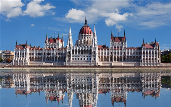 Wallpaper Budapest, Hungary, Parliament, river, water reflection