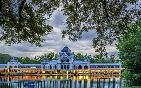 Wallpaper Budapest, Hungary, palace, trees, pond, fence