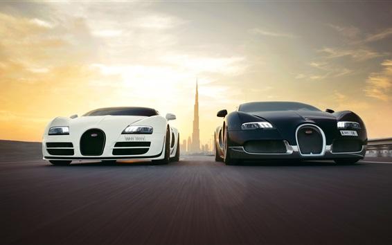 Обои Bugatti Veyron суперкаров, белый и черный