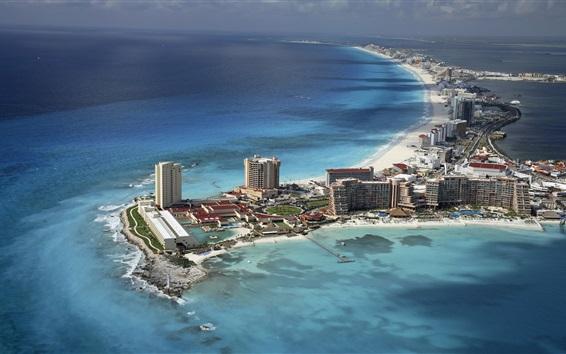 Wallpaper Cancun, Mexico, city, beach, coast, sea, island