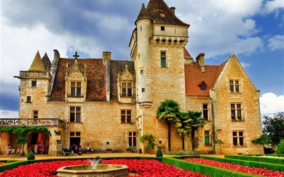 Wallpaper Castle, flowers, garden